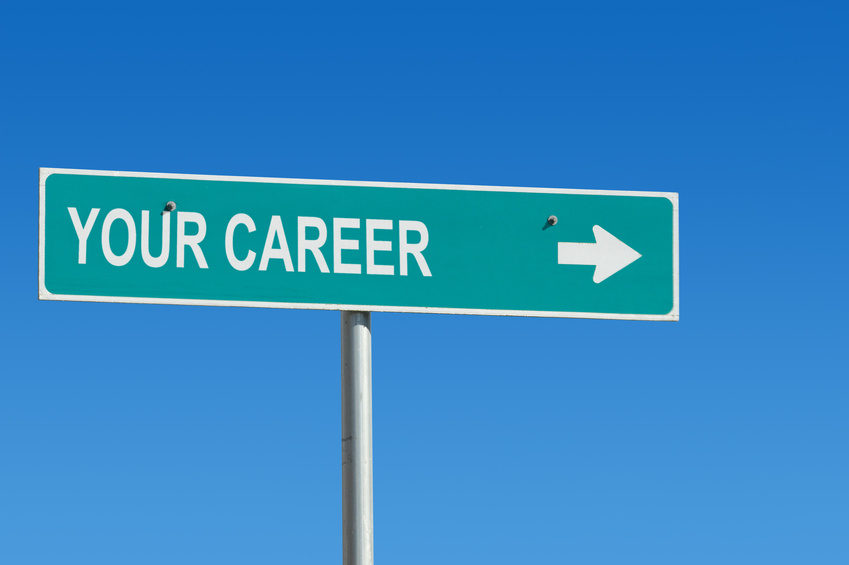 "Sign with ""your career"" stenciled on.  Sign's original reflective white texture used in text for realism."